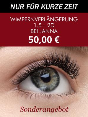 Symbol mit Augenbraue und Preisangebot Wimpernverlängerung